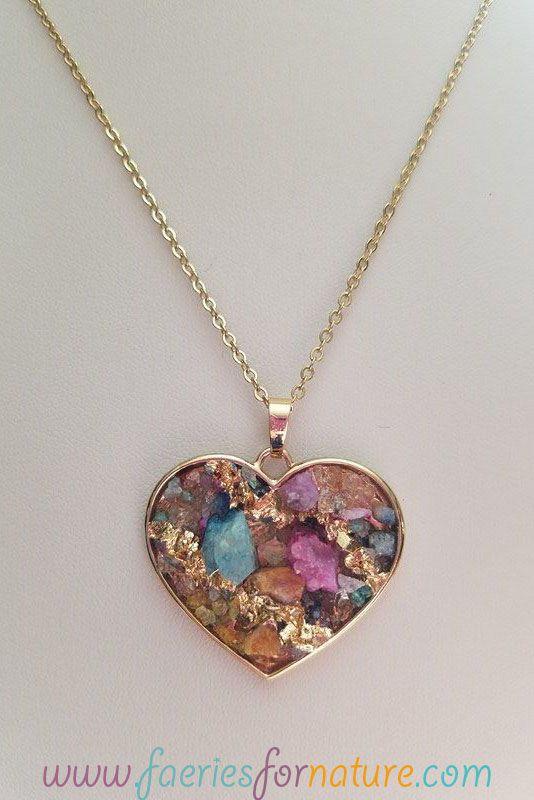 heart rock crystal necklace jewelry charm fairytale gold fantasy necklaces dainty druzy