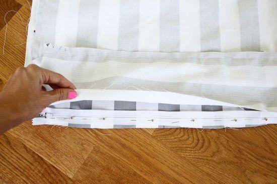 pillow make cushion bench stitching