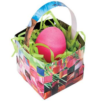 basket paper glue magazines easter