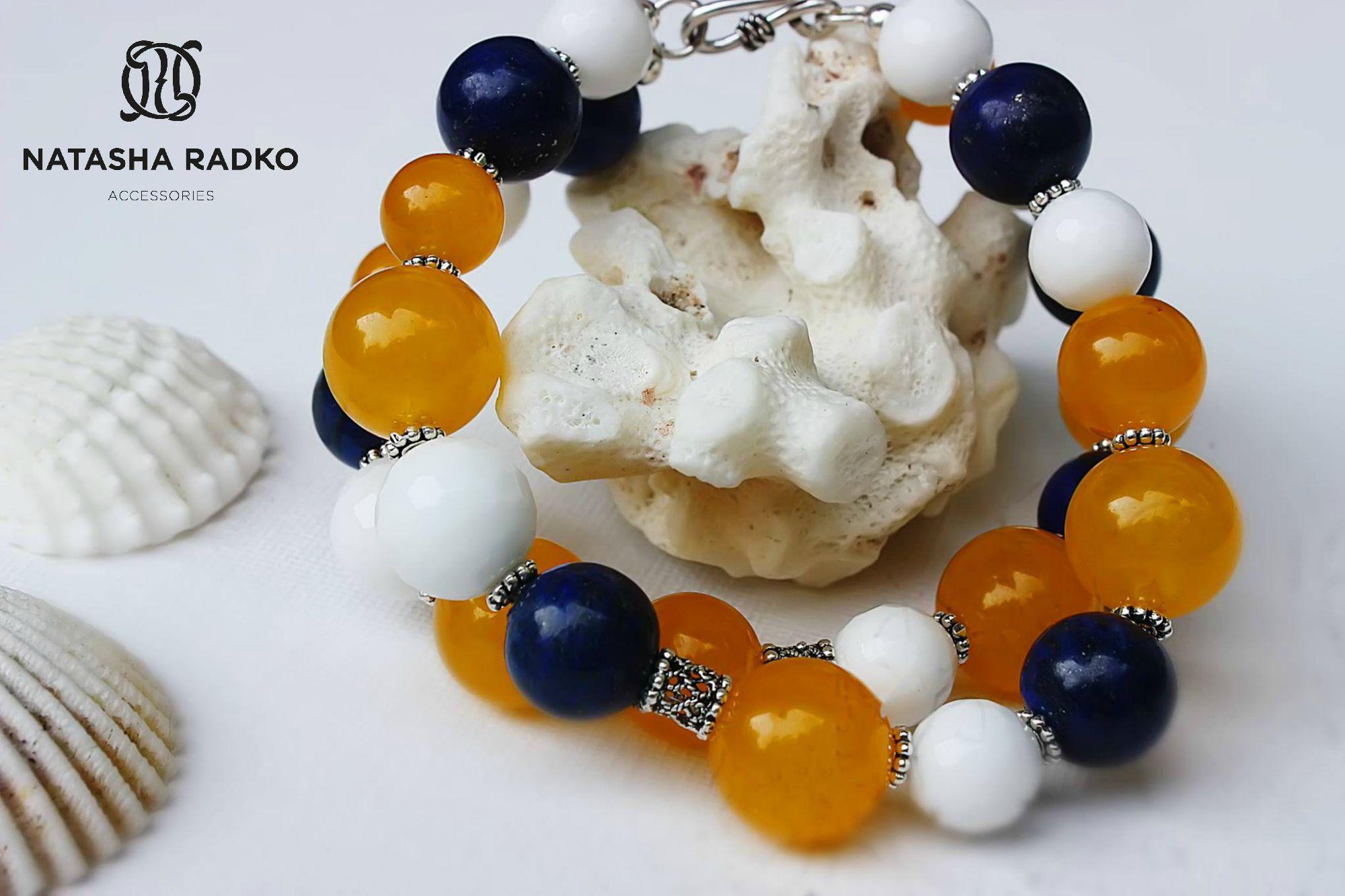 wristlet present silver agate lazuli jade jewelry