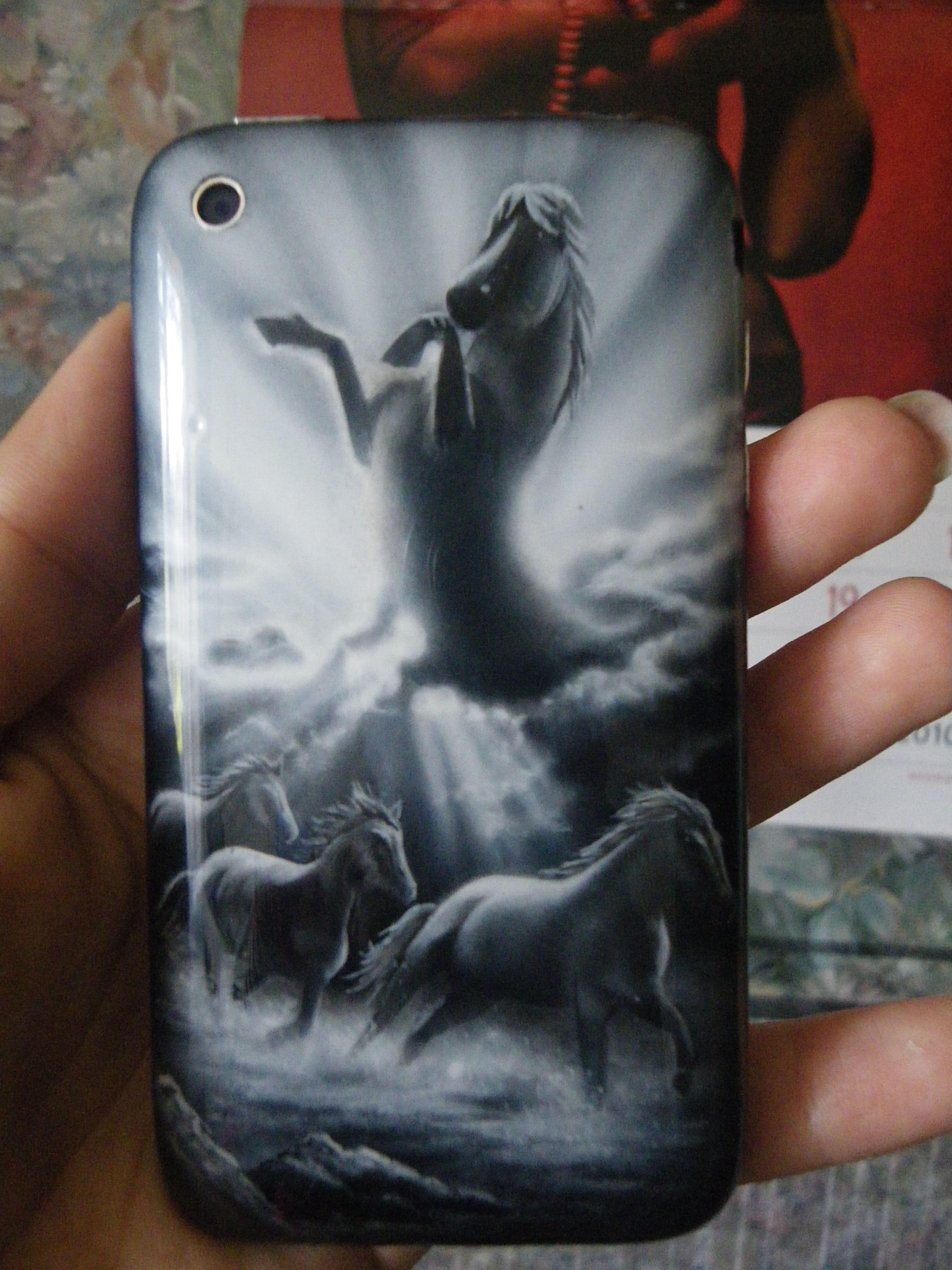 phonecase acryl aerographics horse painting