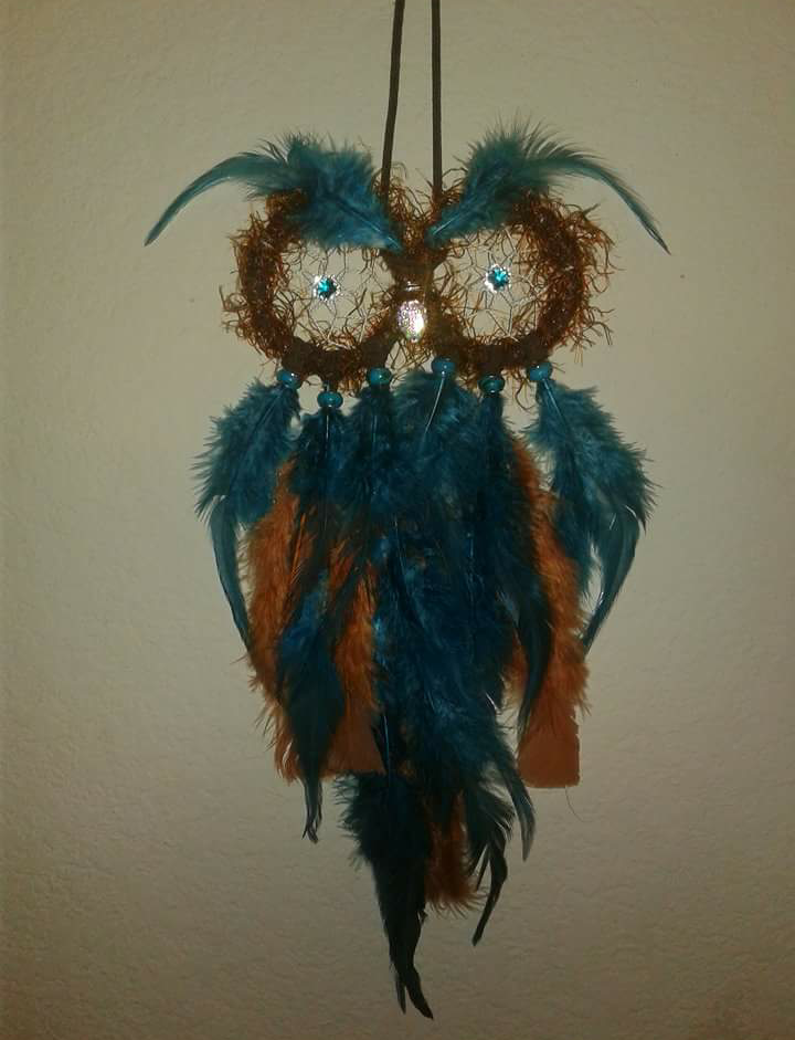 teal brown decor home owls dreamcatcher