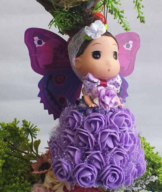 doll ornament gift angel butterfly christmas bell flowers purple