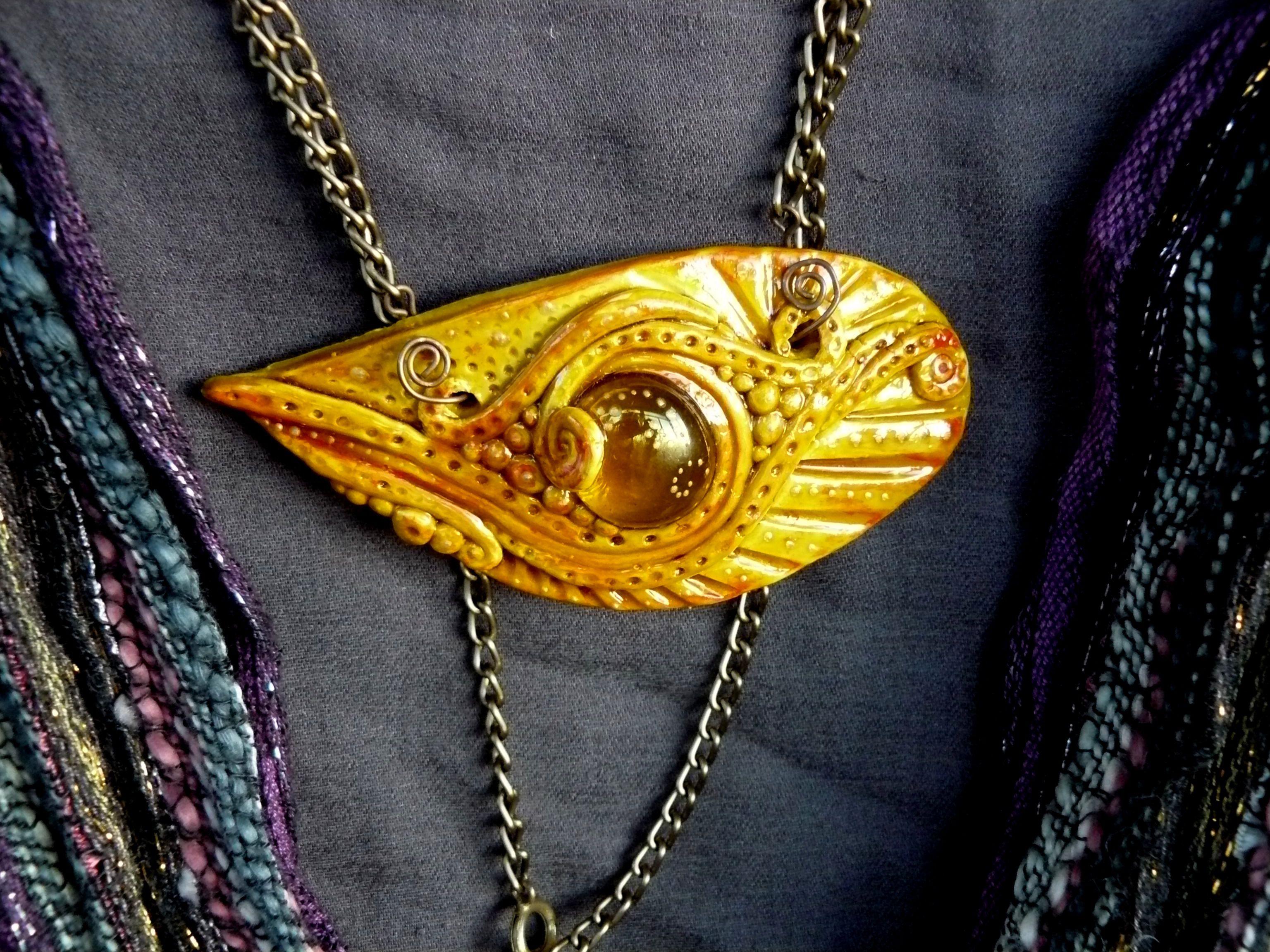clay pendant golden jewelry