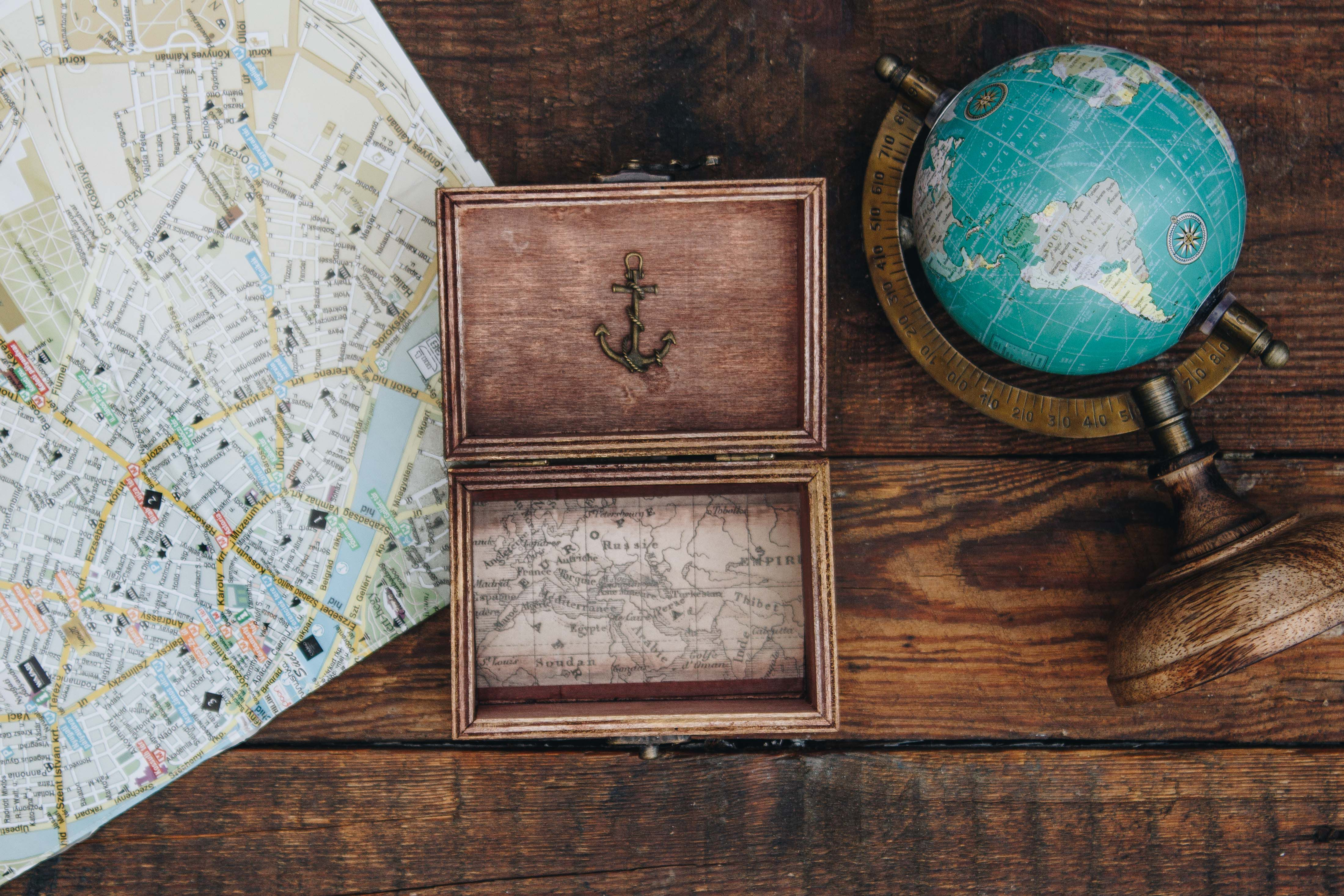 travel wood wooden map decoration box traveler