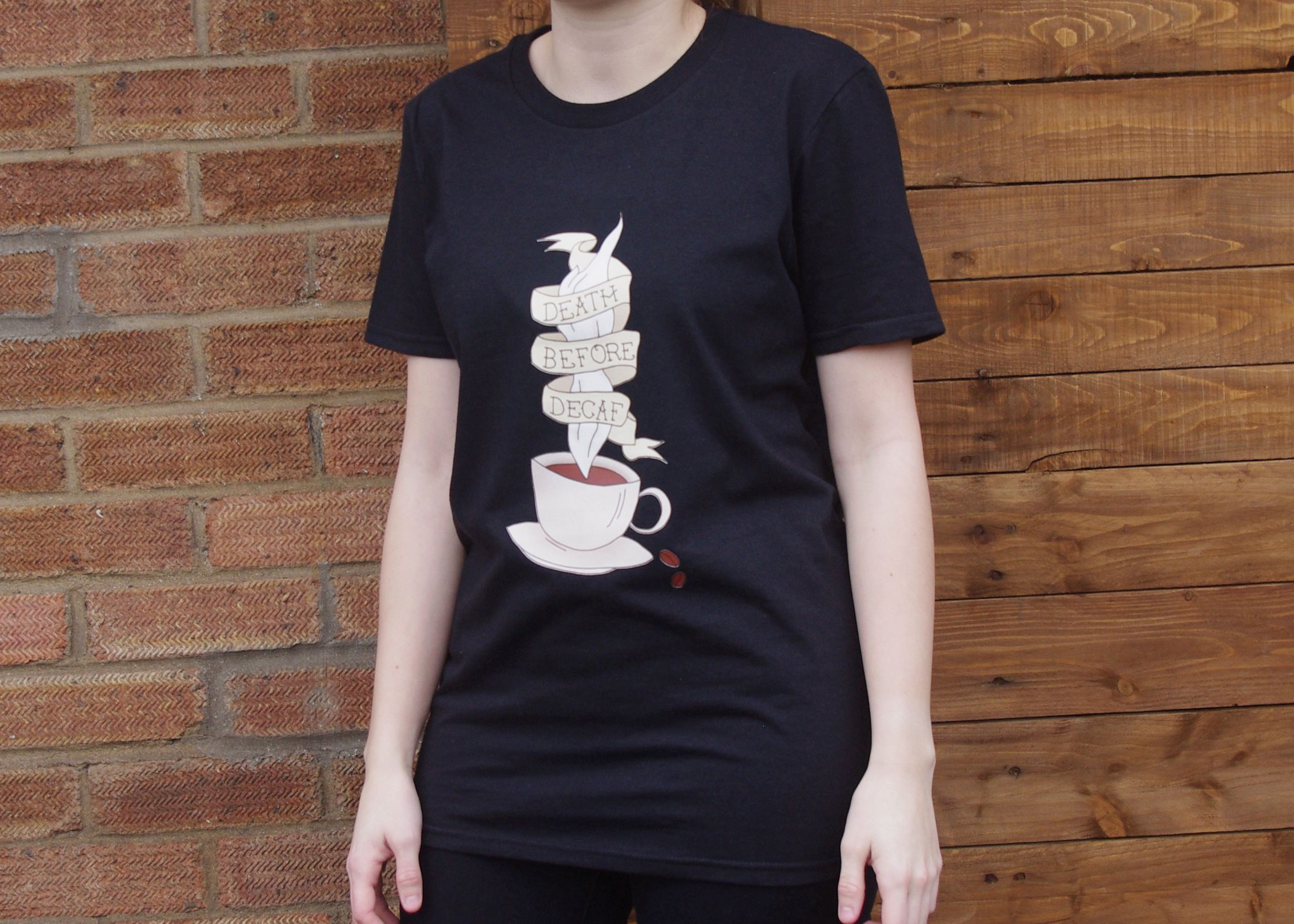 rockabilly decaf illustration unique tee outfit goth gift clothes coffee shirt alternative tattoo clothing