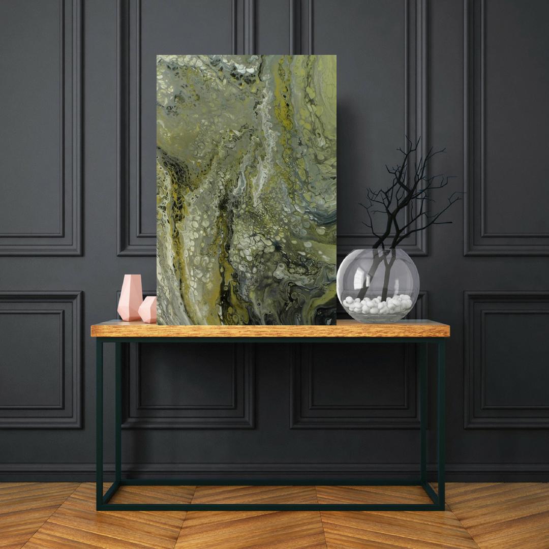 wallart etsyseller abstractart silverart gennhaio largepainting acrylicpour homedecor