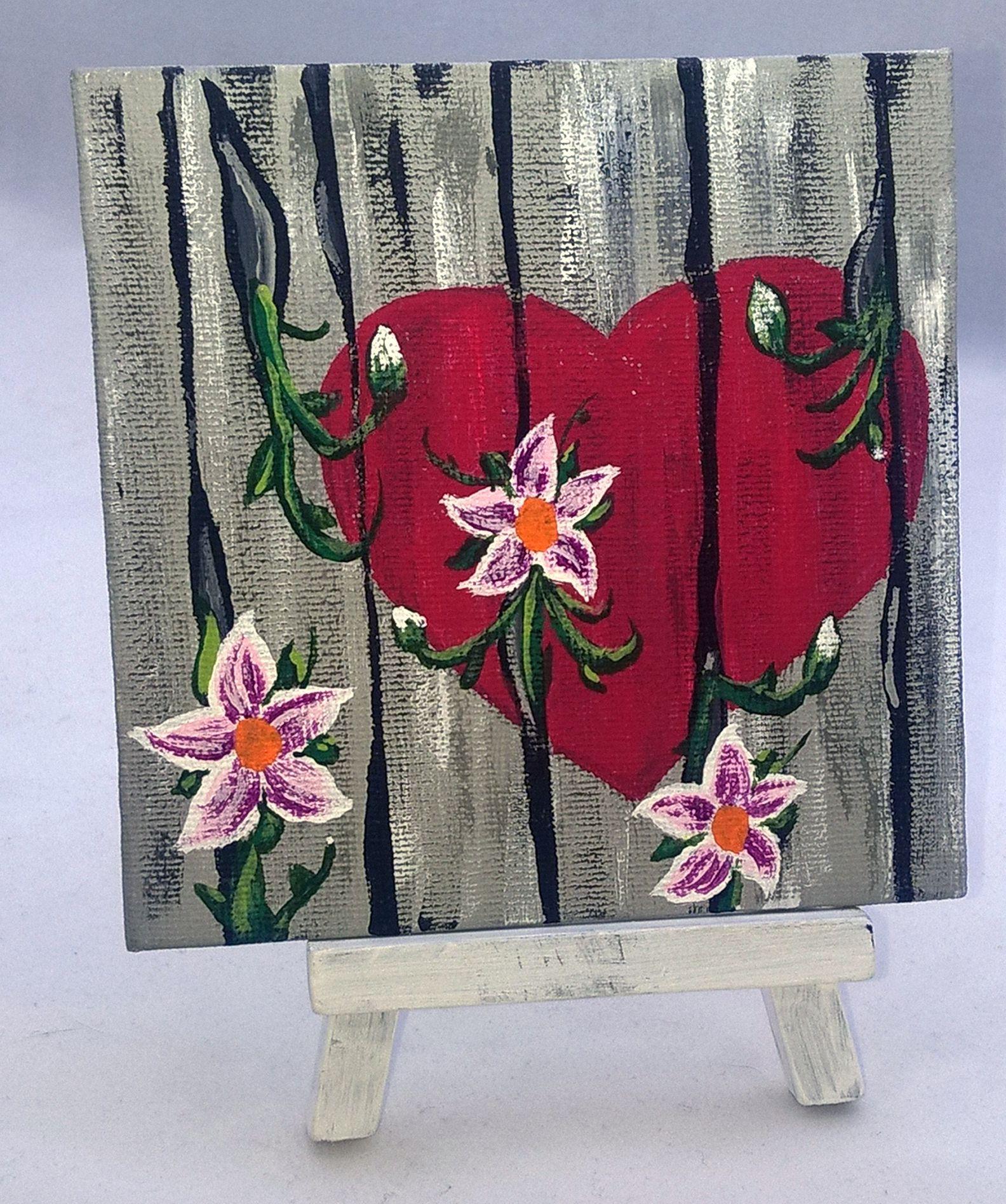 love artwork heart art painting desk decor custom