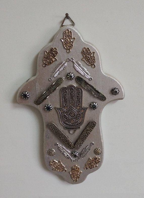 silver decor charm good luck wall hamsa
