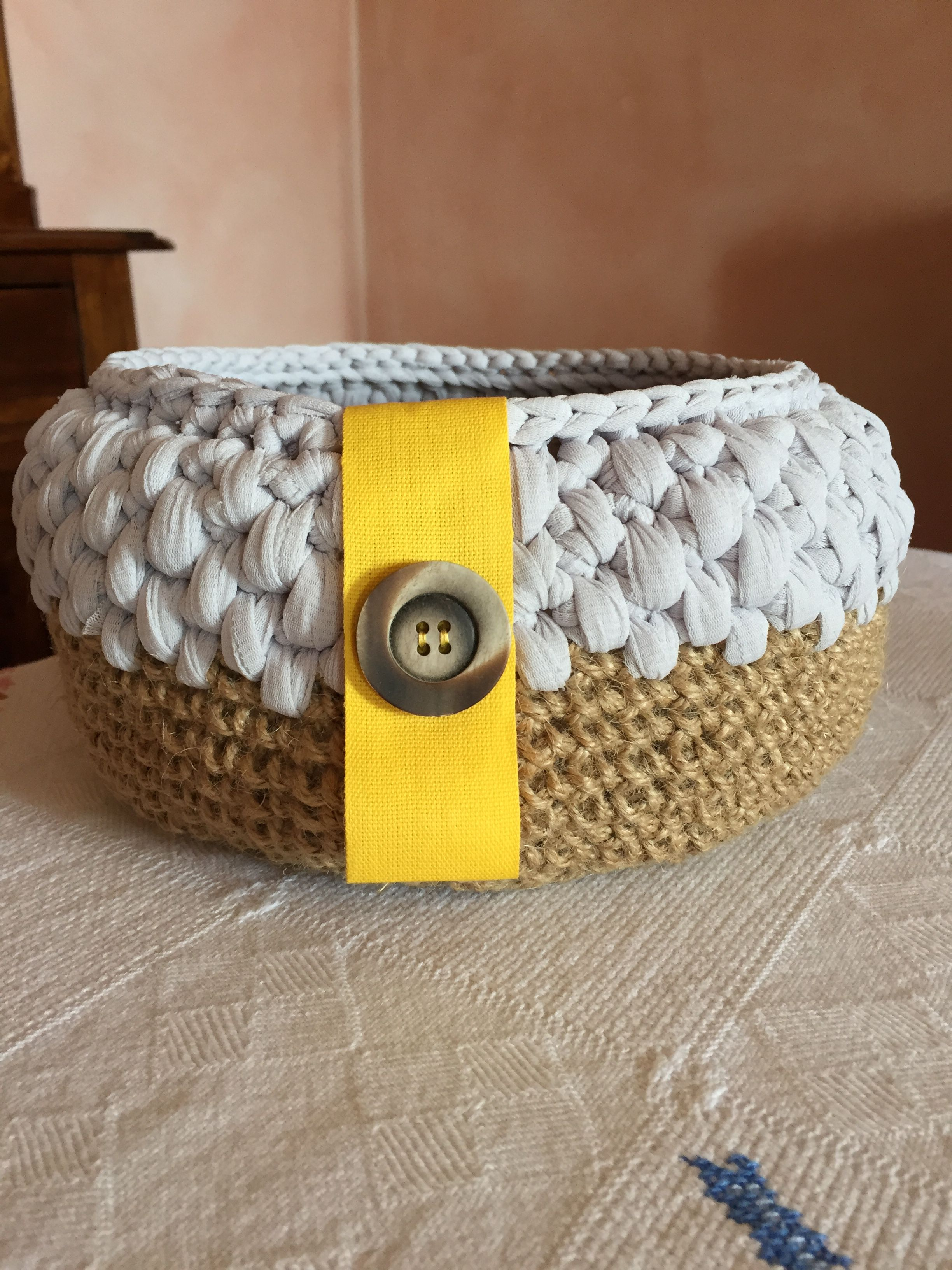 cotton brown crochet yuta grey button basket yellow