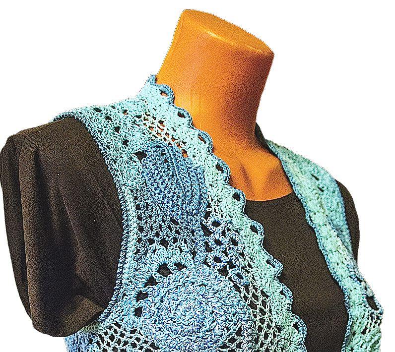 waistcoat clothes knitting handmade blue