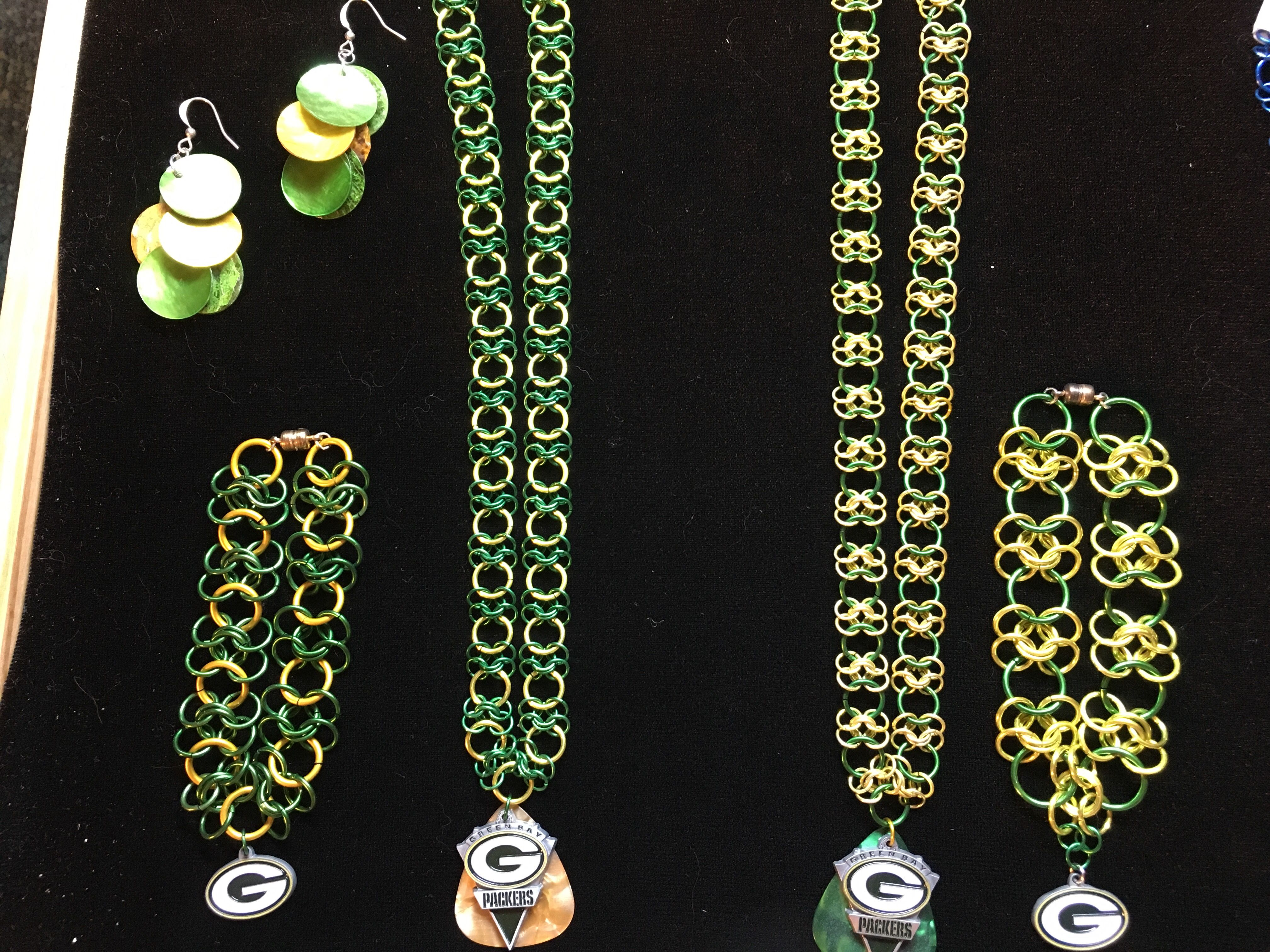 chainmaille football green gift bay set packers earrings gold necklace bracelet sports
