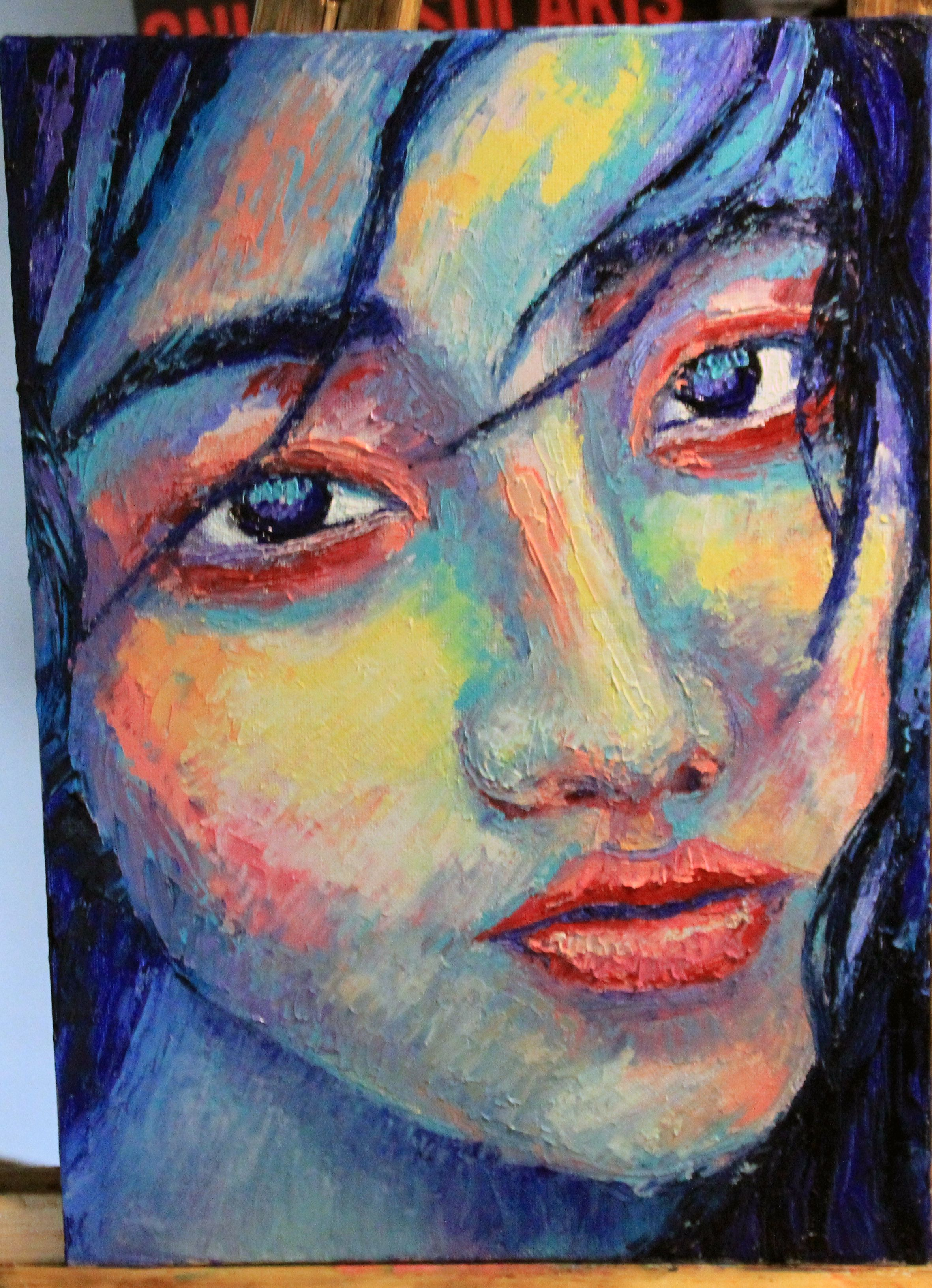 girl portrait oils palleteknife