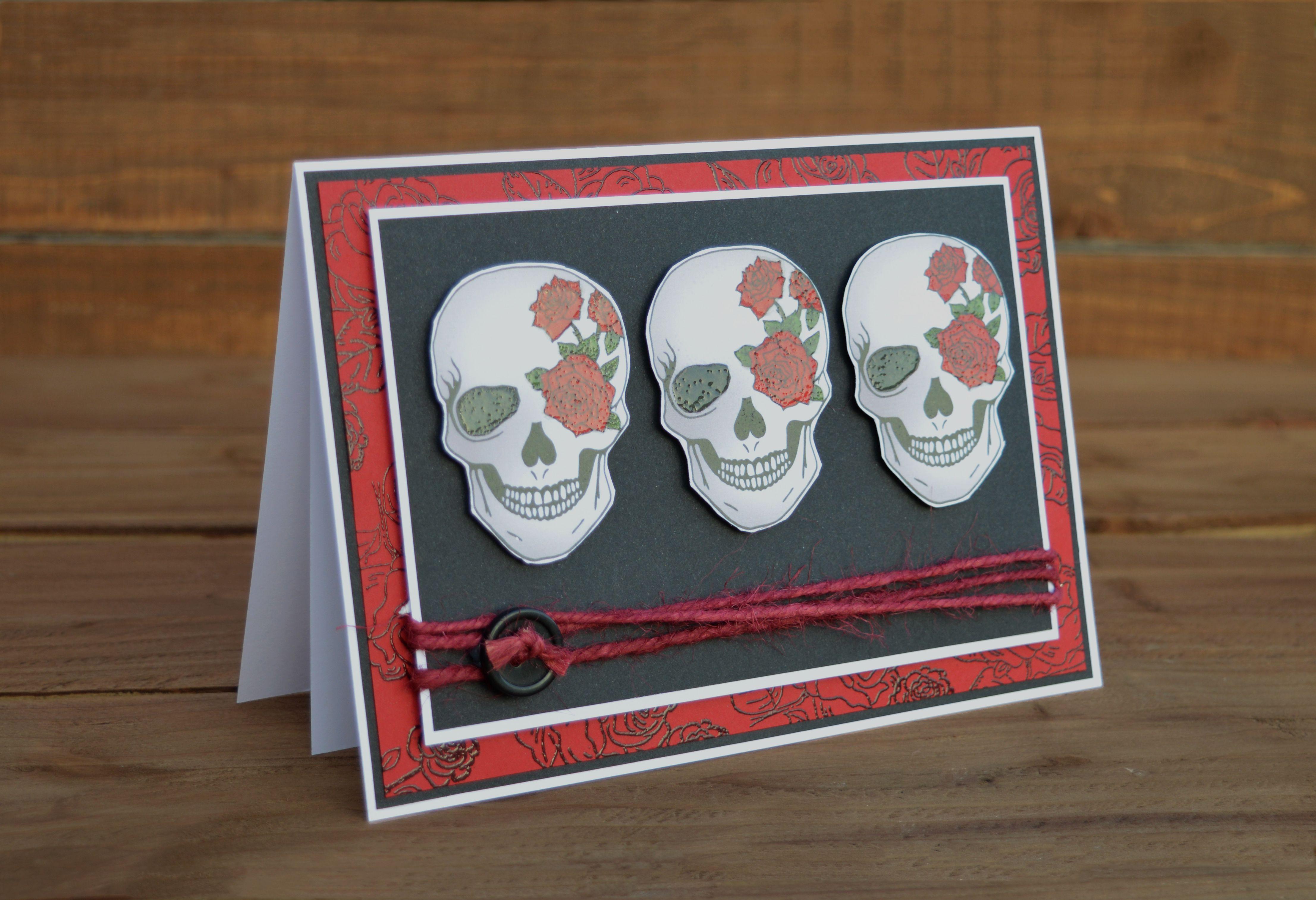 Halloween sugar birthday card unique greetings goth skull tattooart papercraft handmade alternative tattoo