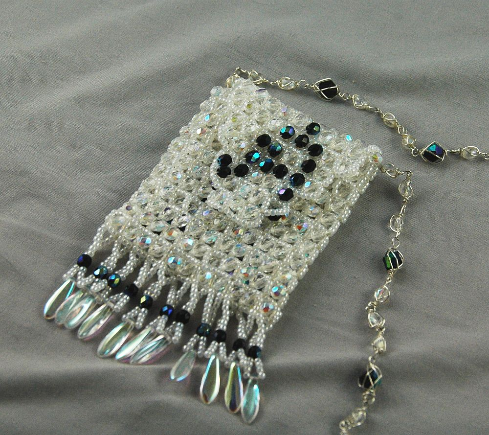 bag white seed crystal raw angle right weaving jewelry necklace beads bead amulet weave