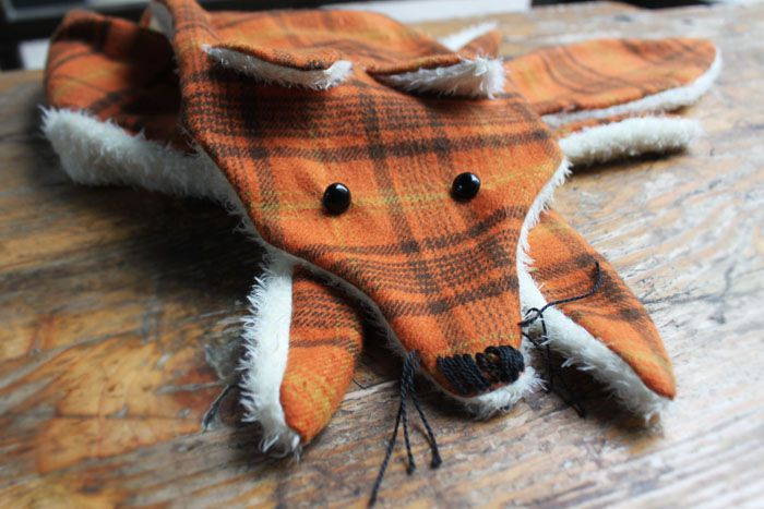 fox handmade scarf sewing fabric autumn diy