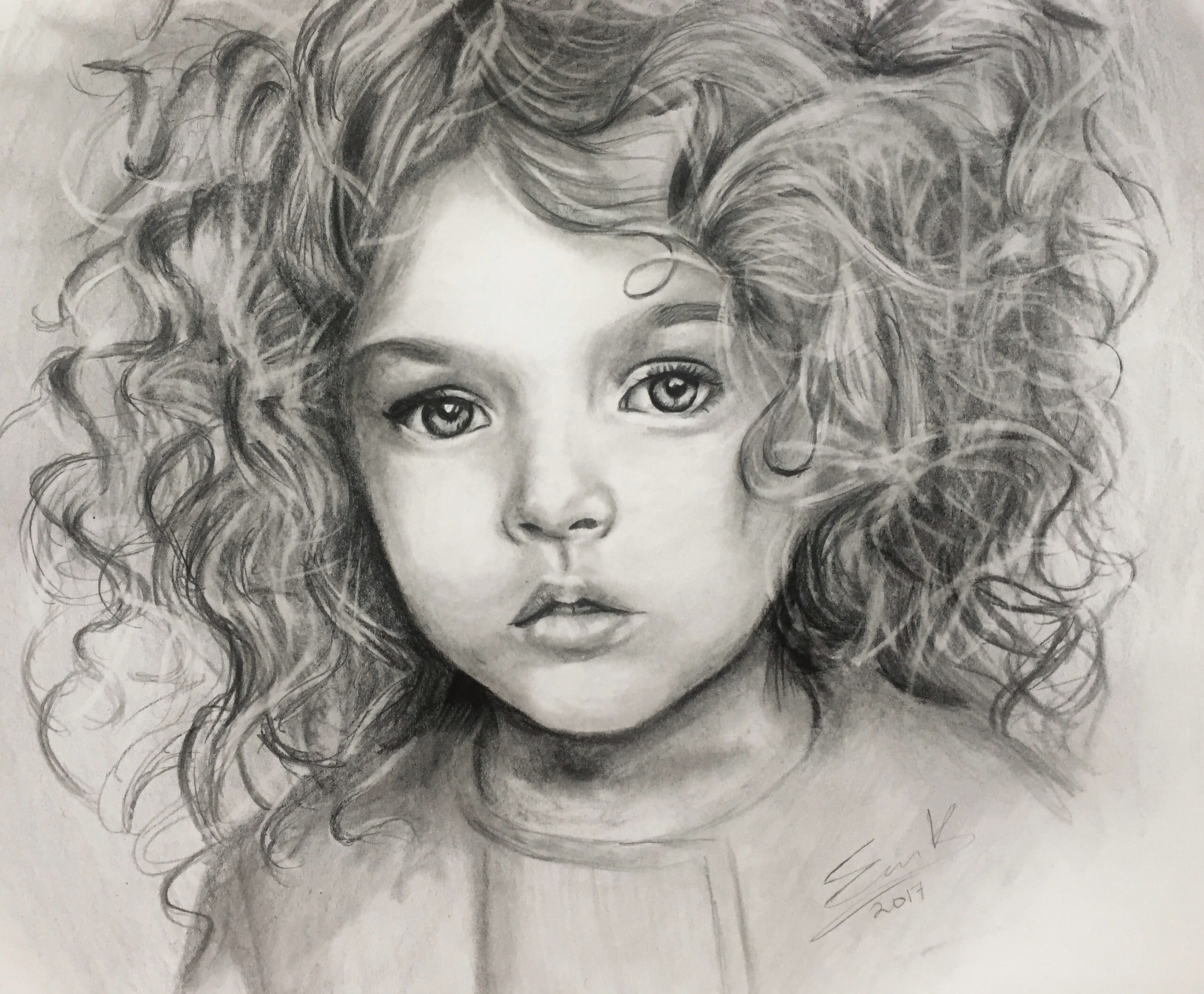 Portrait illustration white hand black drawn custom single graphite drawing pencil sketch
