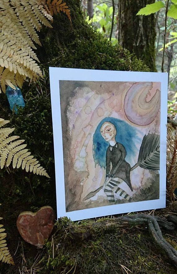 artwork art halloween painting cute coffee ink christmas illustration gothic decoration drawing watercolor witch etsy wicca witchy