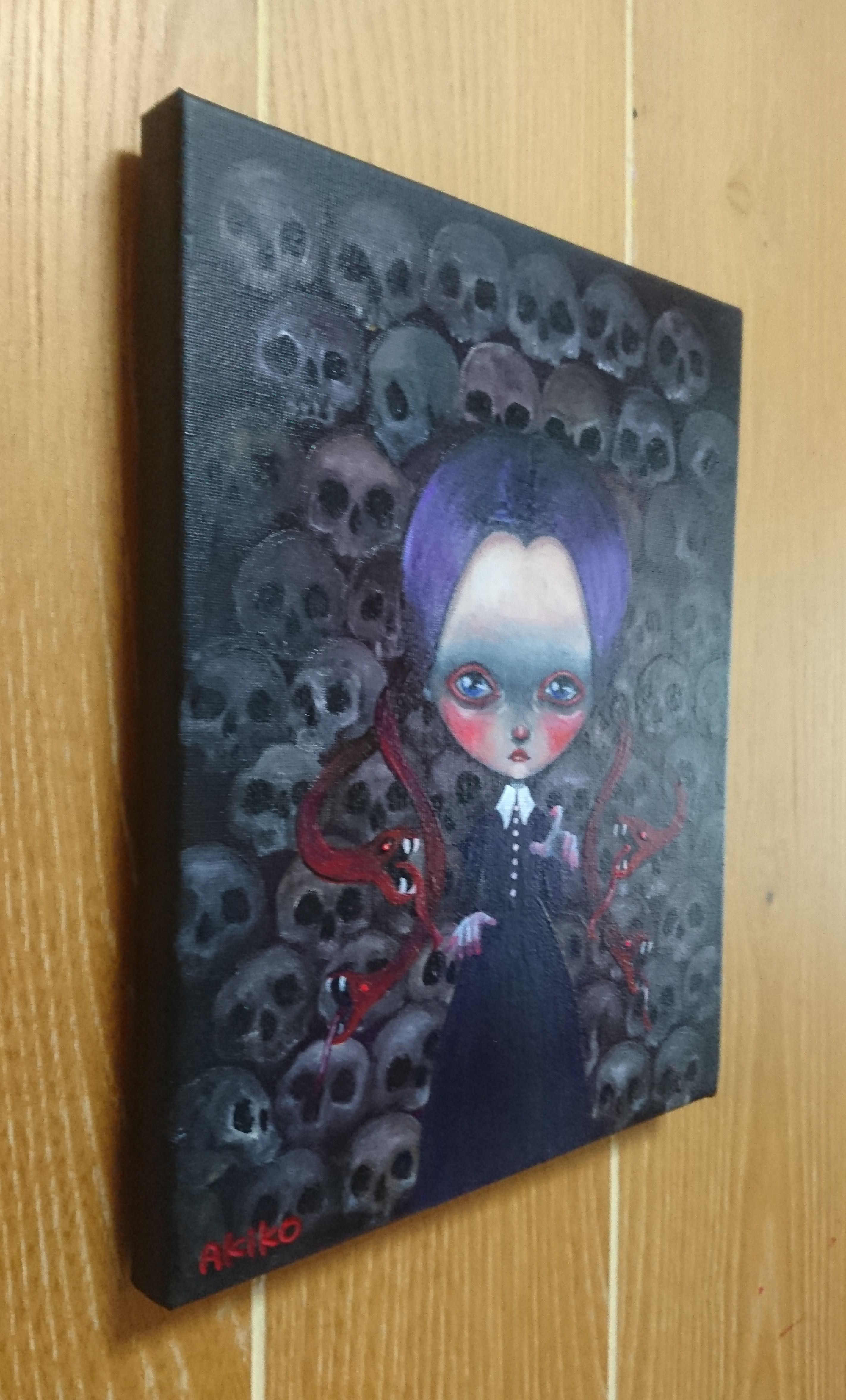 halloween girl gothic skull snake black dark horror popsurrealism