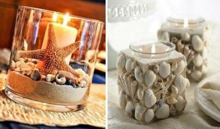 shells candle gift holder make made
