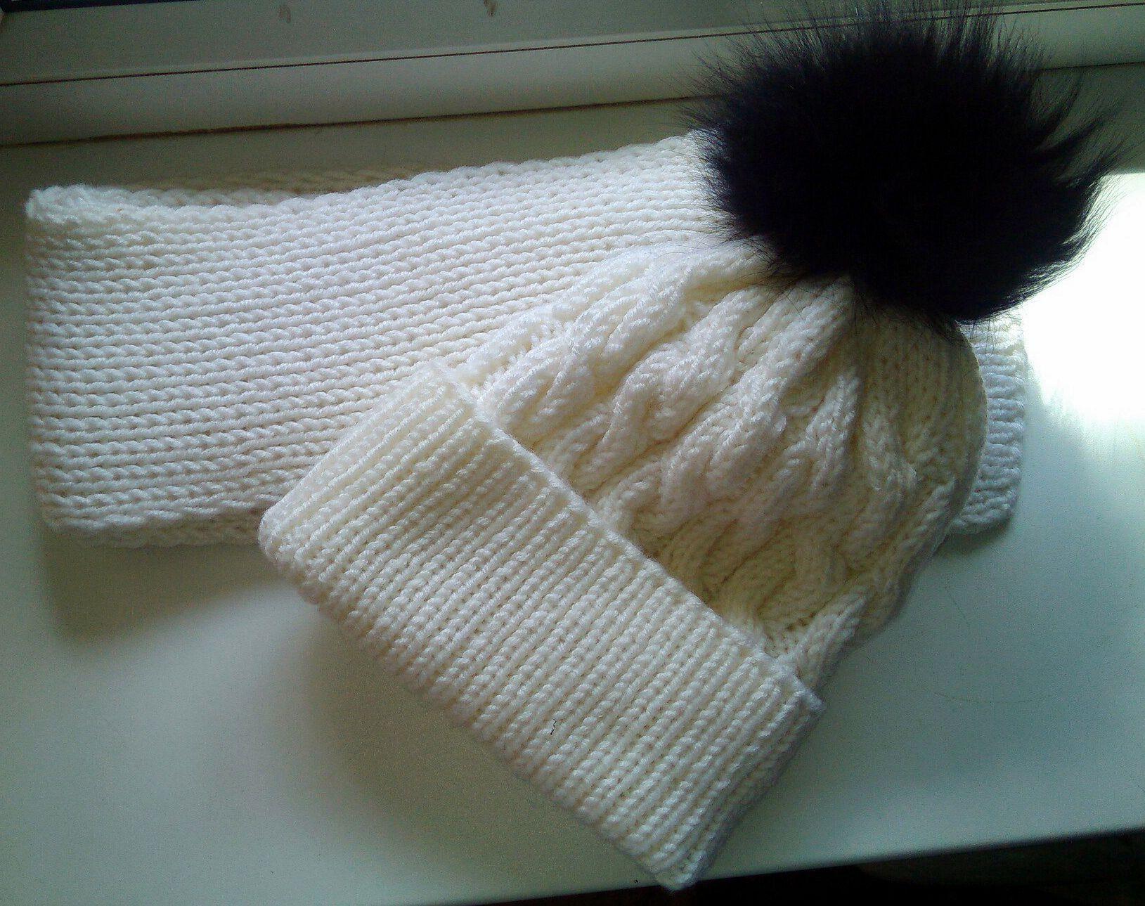 clothes hat scarf winter fur white black