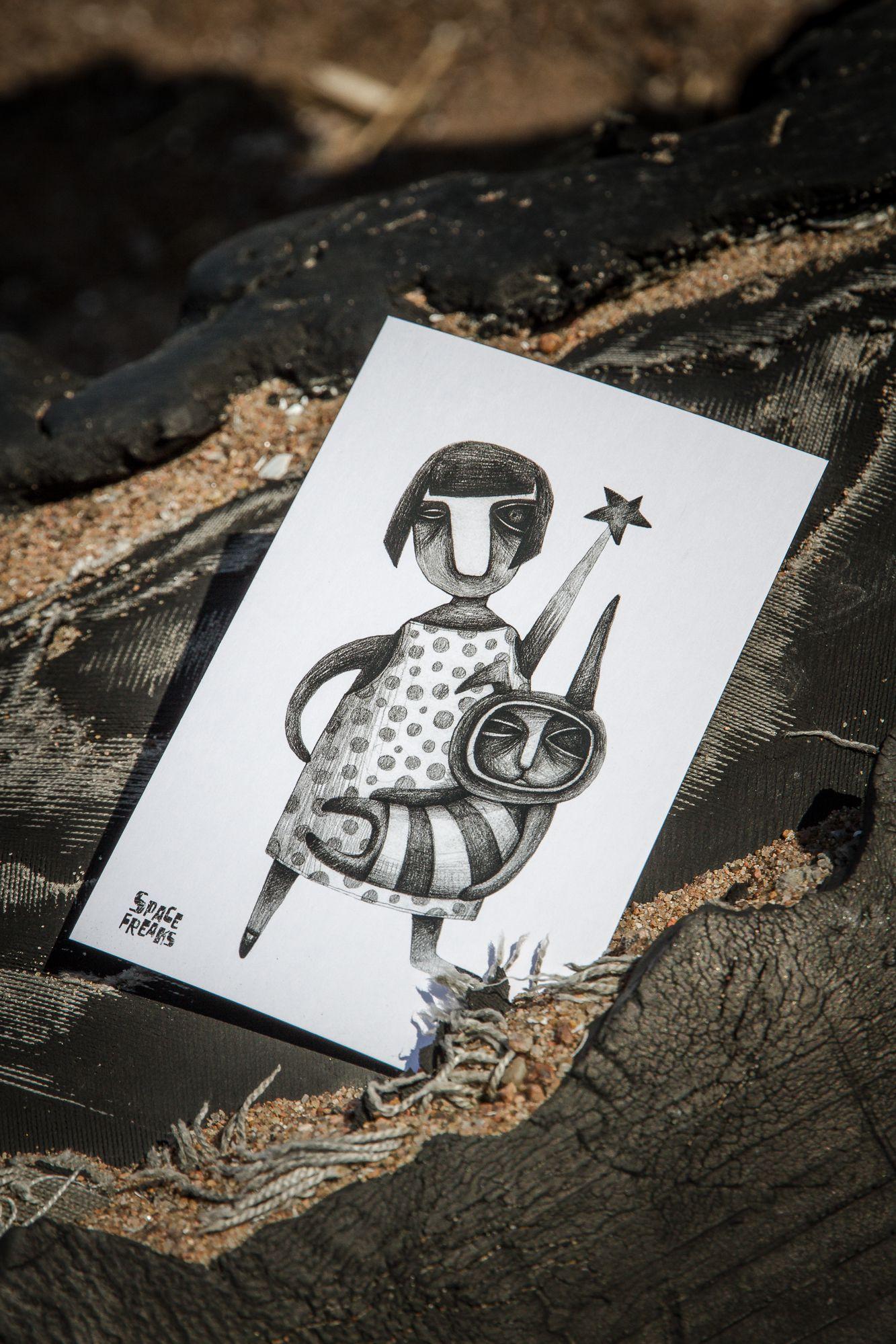 handmade postcard kraft sleep пшае