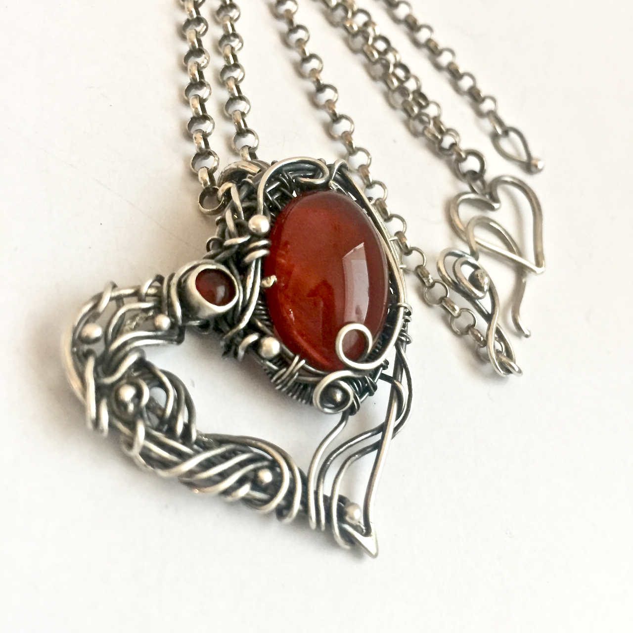 sterling wire designer wrapping pendant present 925 nouvo carnelian heart necklace woman gemstone silver art