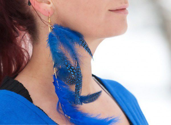 handmade earrings costume jewelry blue bird