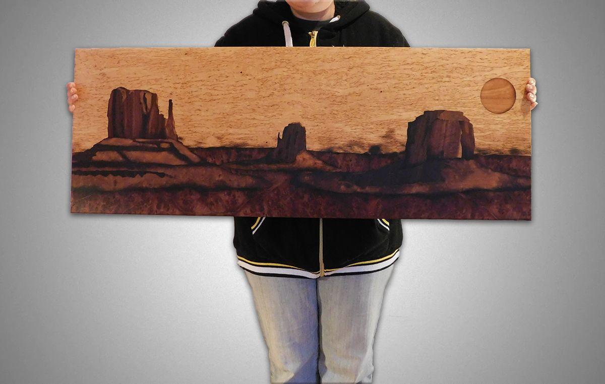 unique sunset gift mountain grandcanyon ladscape handmade wood picture sun
