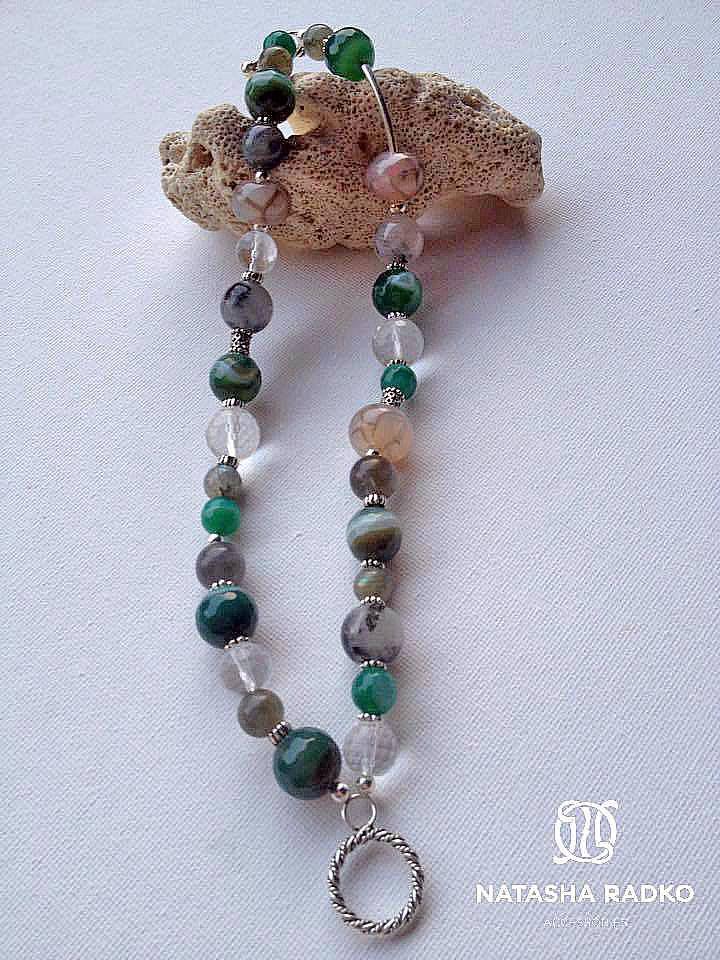 wristlet silver agate quartz labradorite
