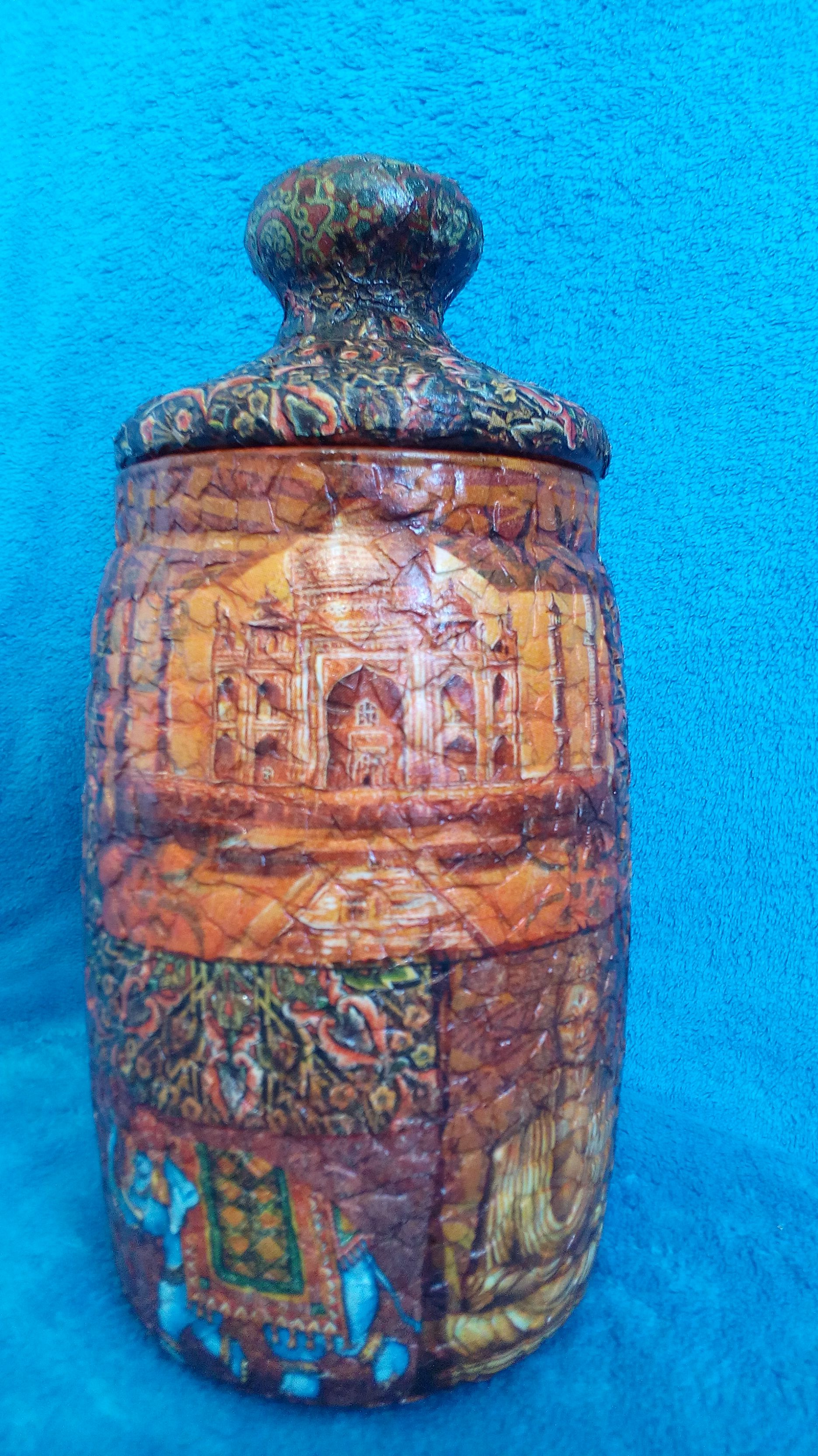 antique interior vase decoupage