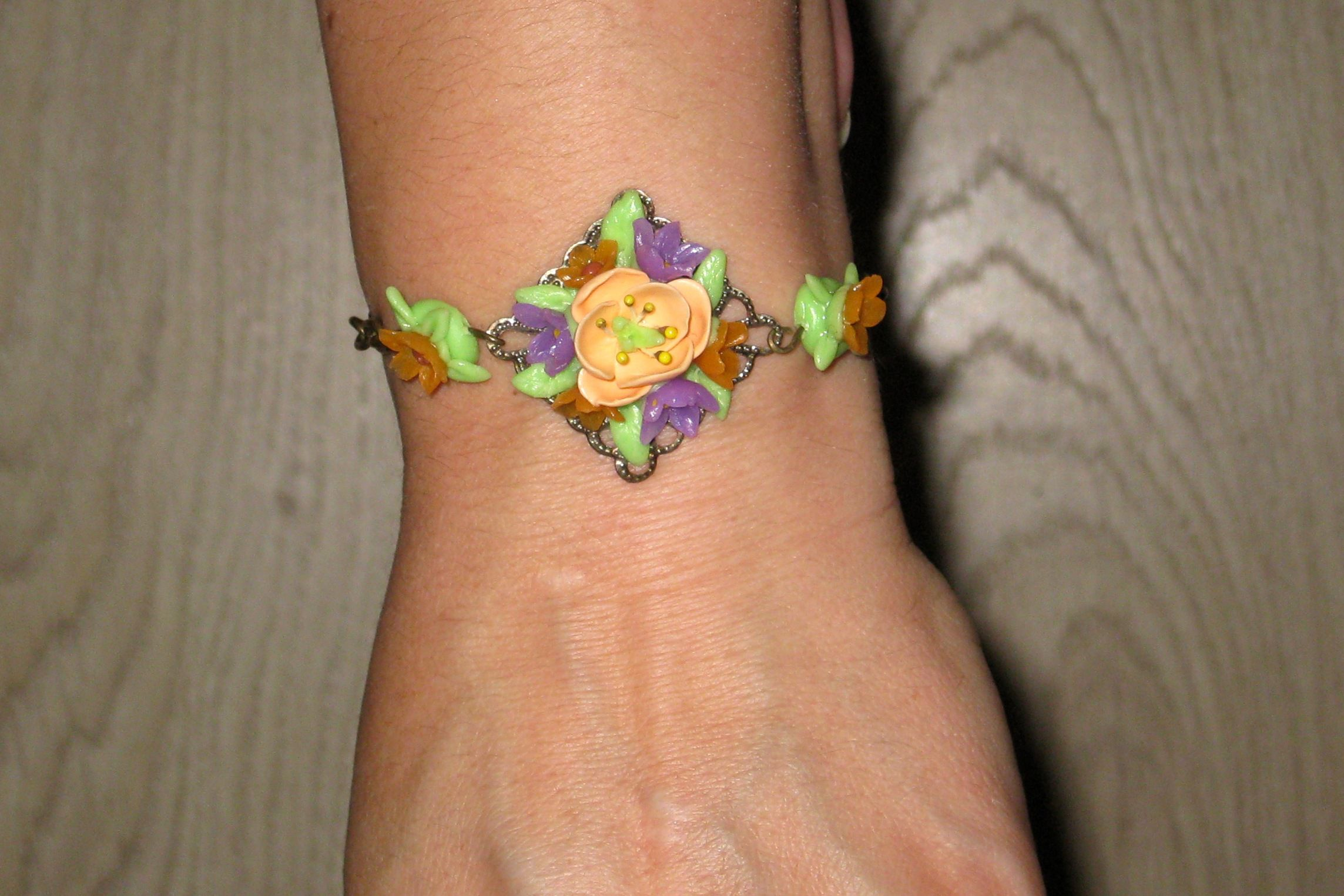 handmade gift bronze flowers bracelet polymerclay creativity originalgift bijouterie