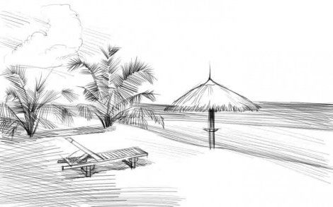 instruction beach draw pencil art