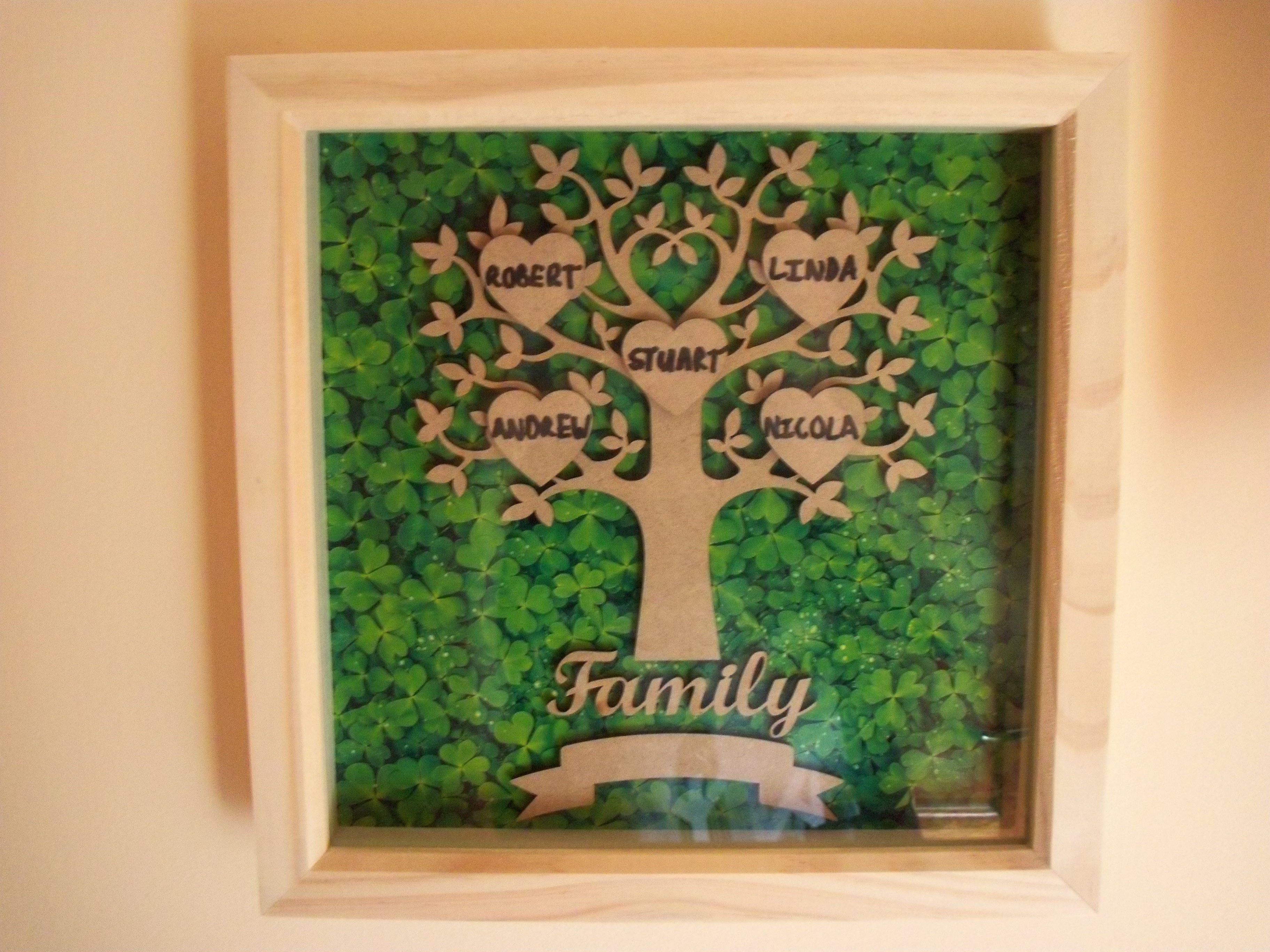 nature box wooden personalised tree custom frame wood picture deep family