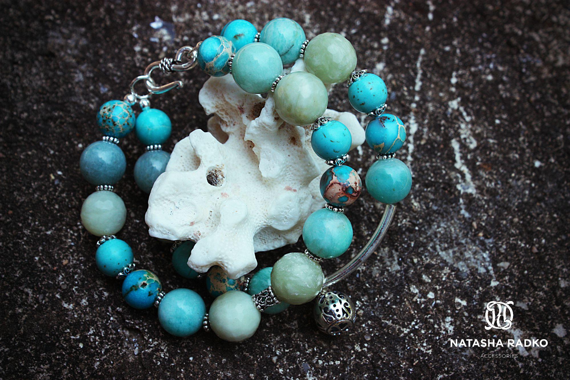 wristlet silver variscite jade amazonite howlite