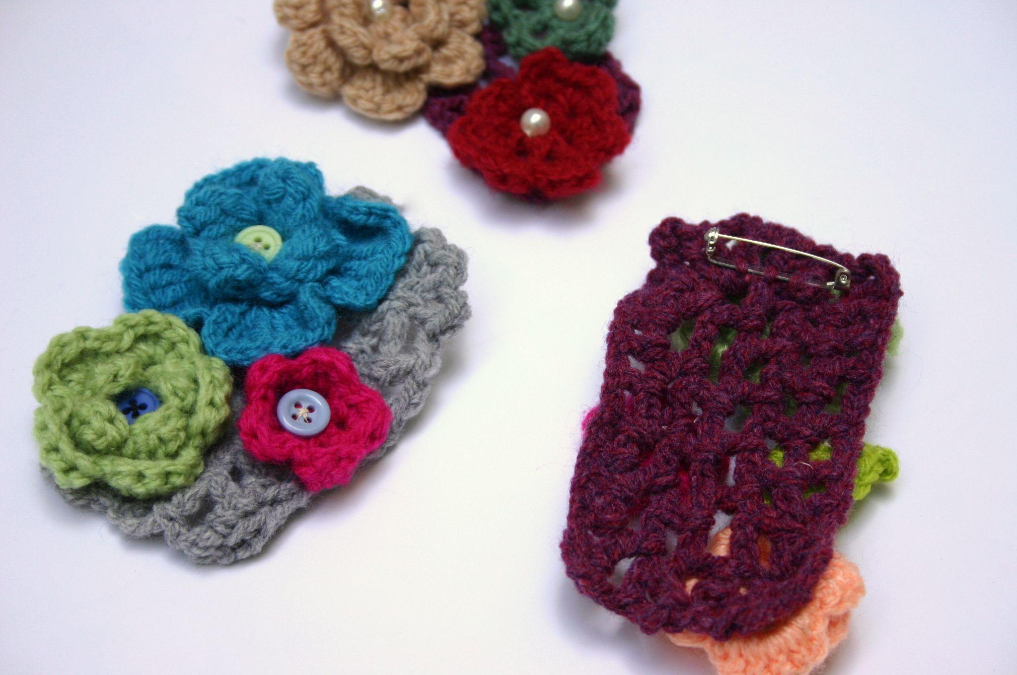 boho flower brooch vintage cotton jewelry crochet accessory