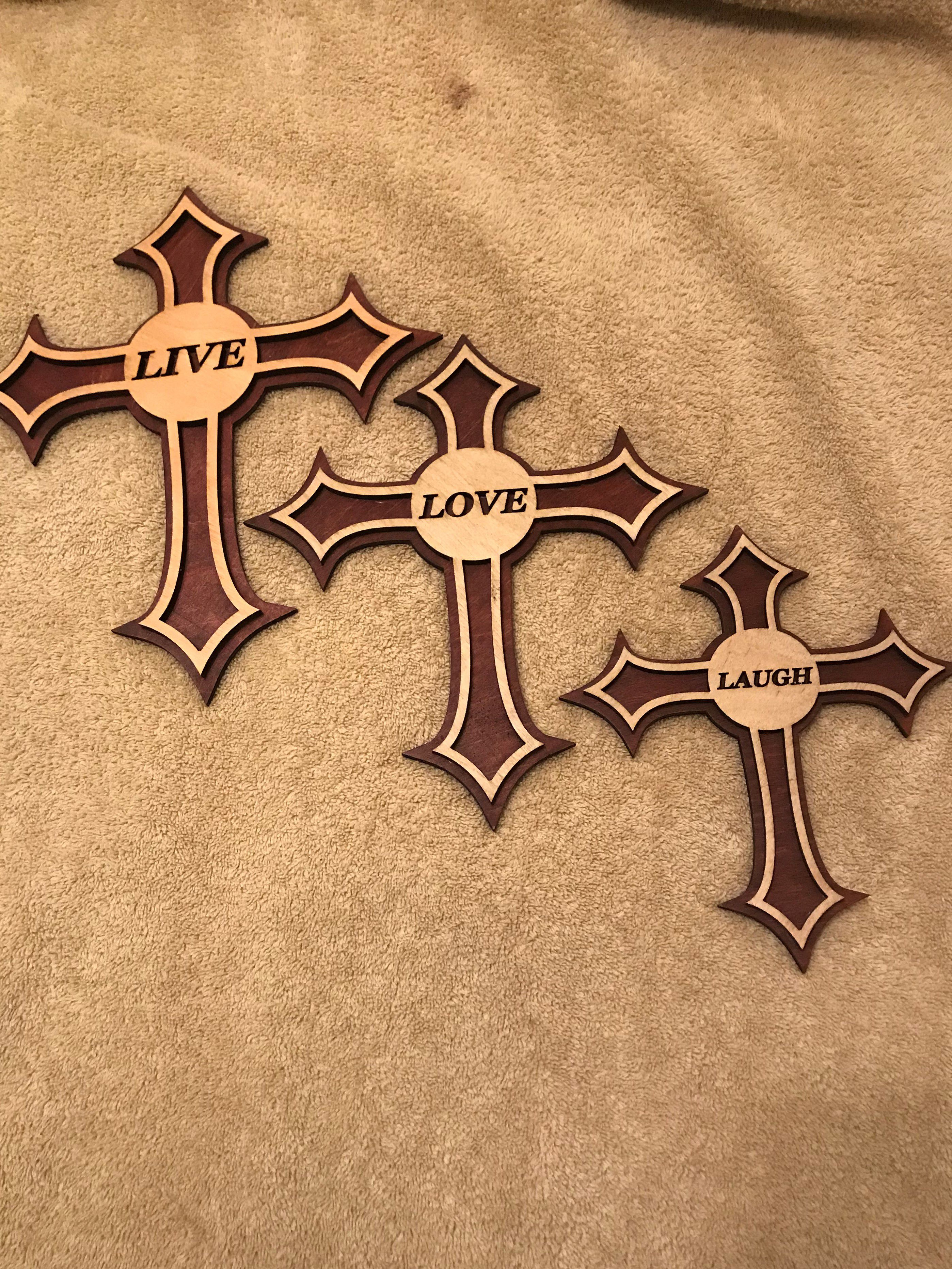 toned two live engraved laser set cross cut laugh love