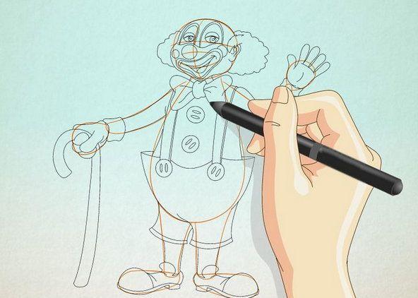 color clown draw steps art