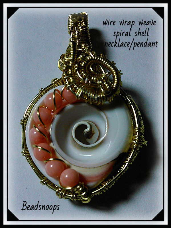 pendant necklace jewelry beadsnoops wirewrapweave spiralshell