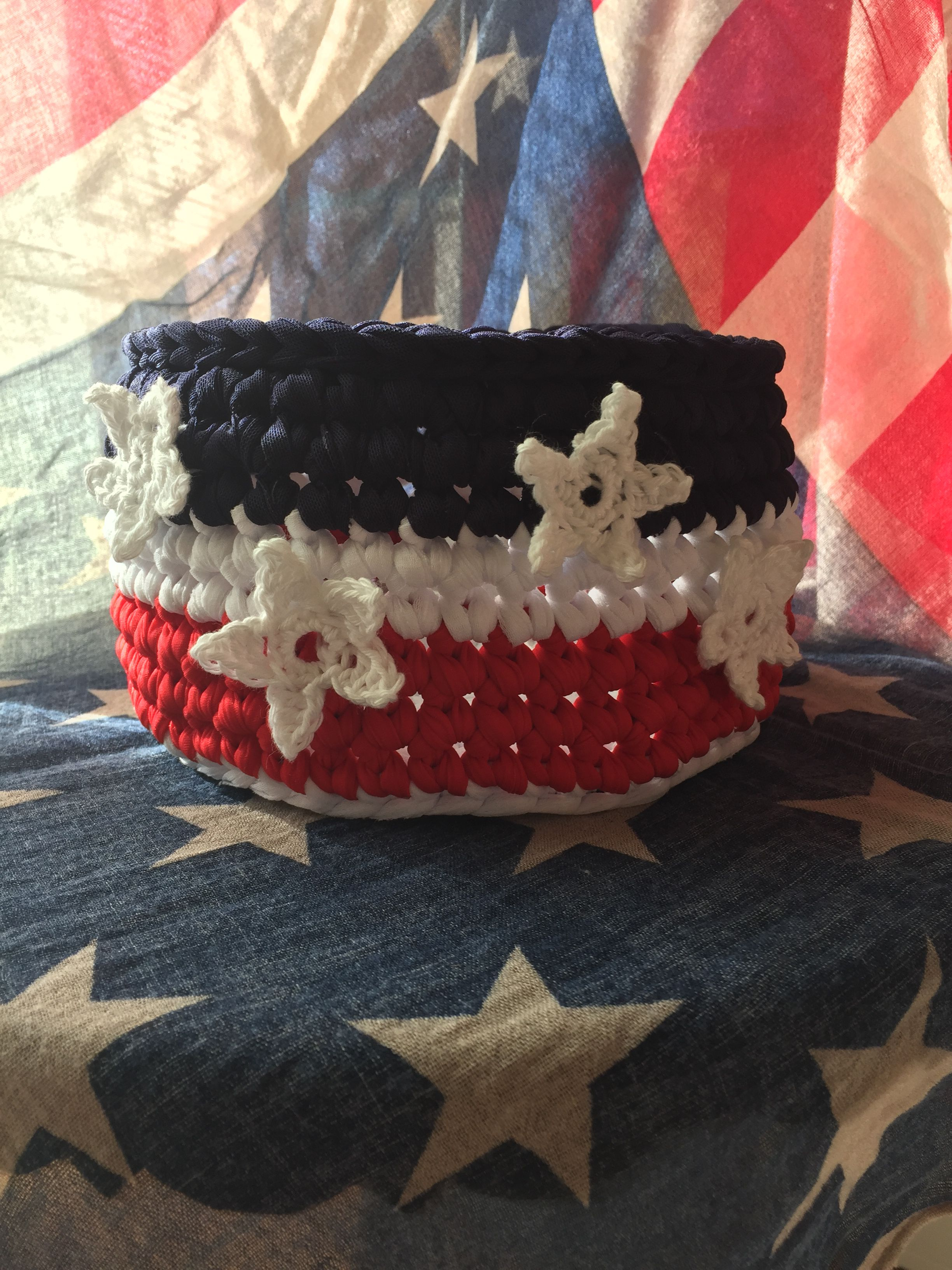 basket july 4th day indipendence patriotic neckband white cotton blue usa red crochet stars america