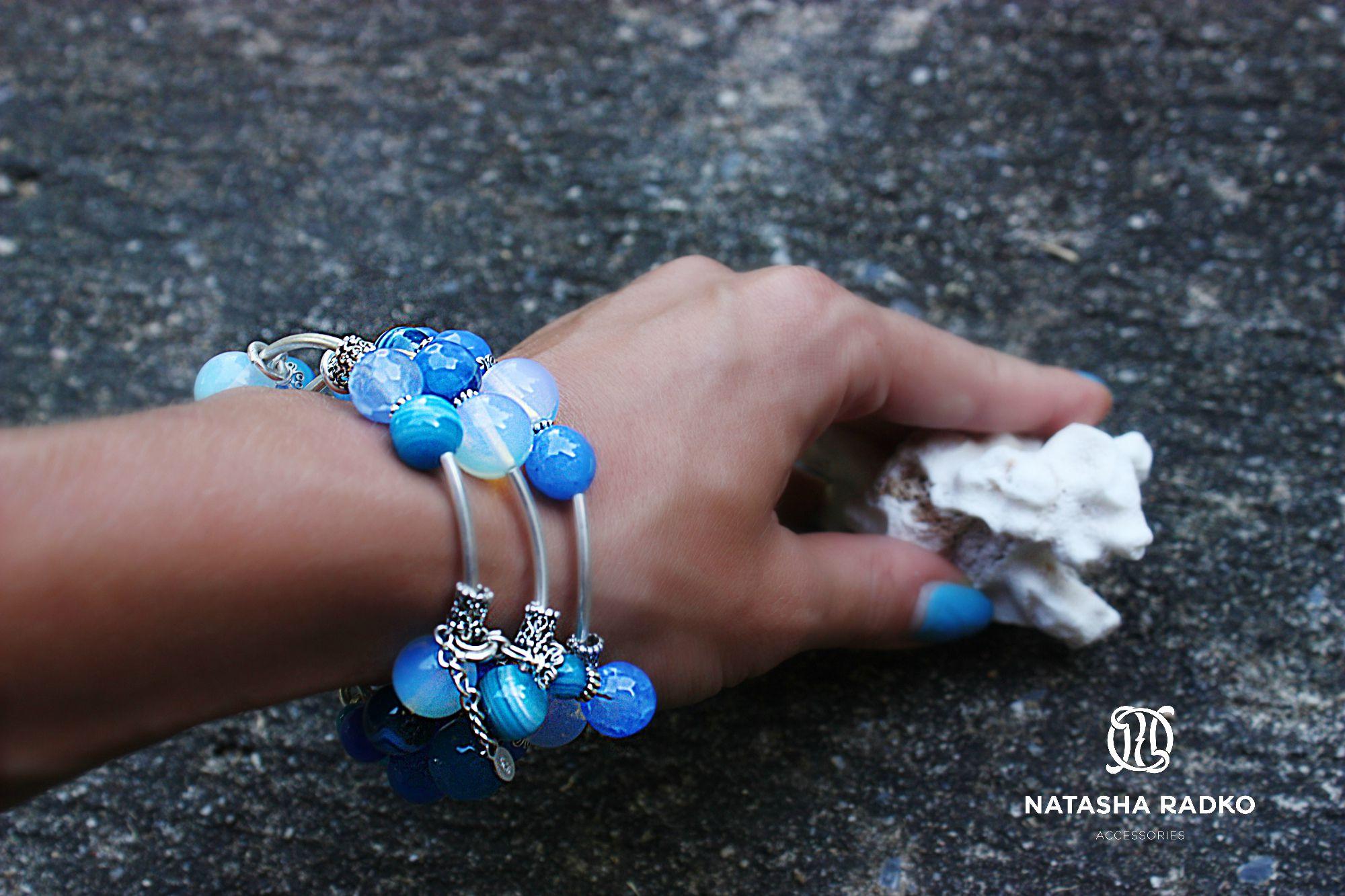 wristlet agate opal jewelry blue