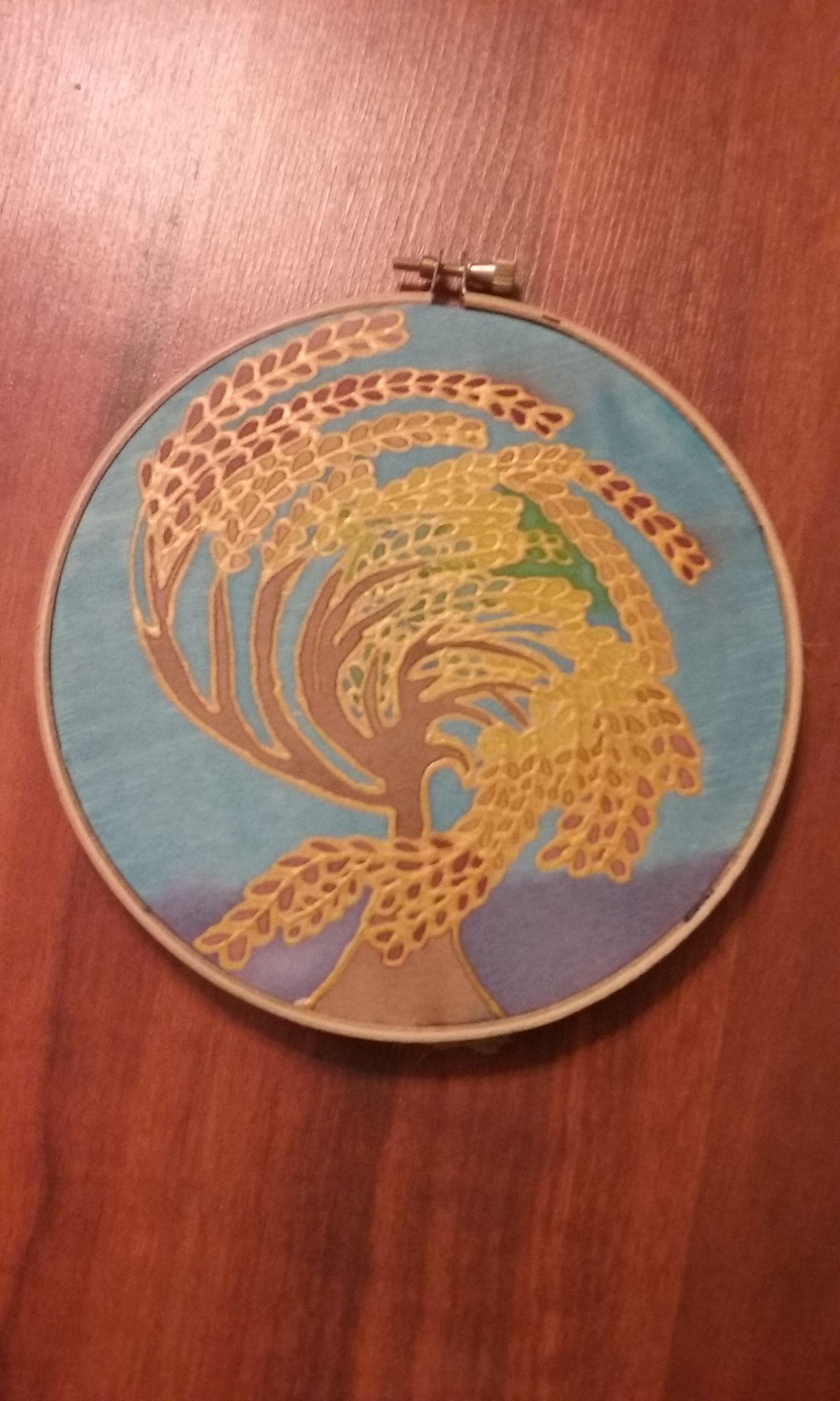 handmade art painting decor silk tree wall
