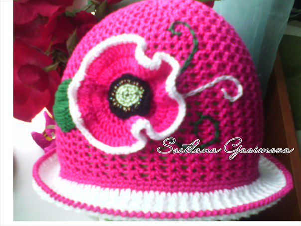 girl poppy pink hat handmade summer
