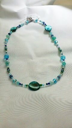 ocean necklace jewelry blue green kriszcreations togglecloser