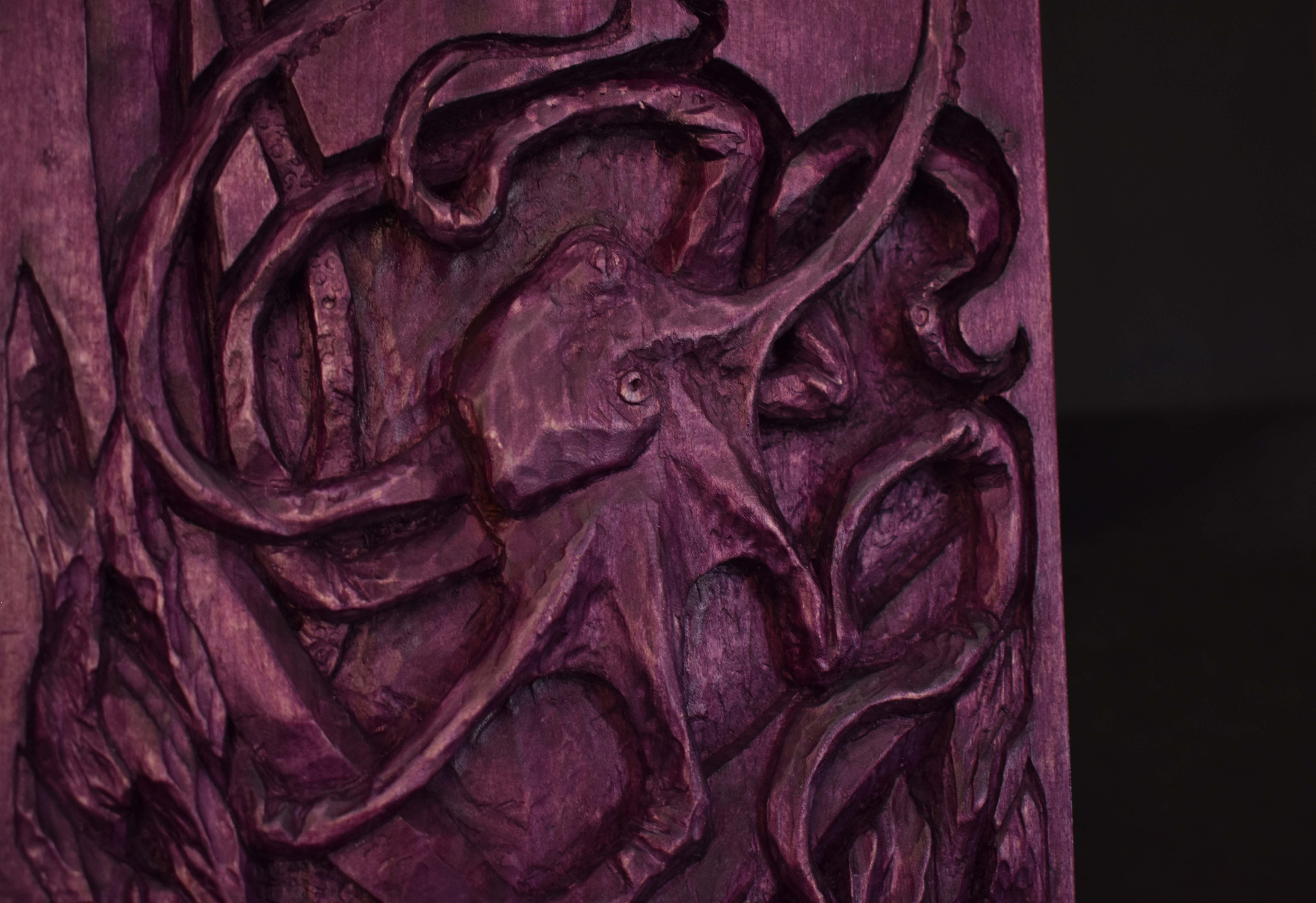 birthday gift fishing ocean relief sculpture handmade basswood wood octopus carving djazzga purple