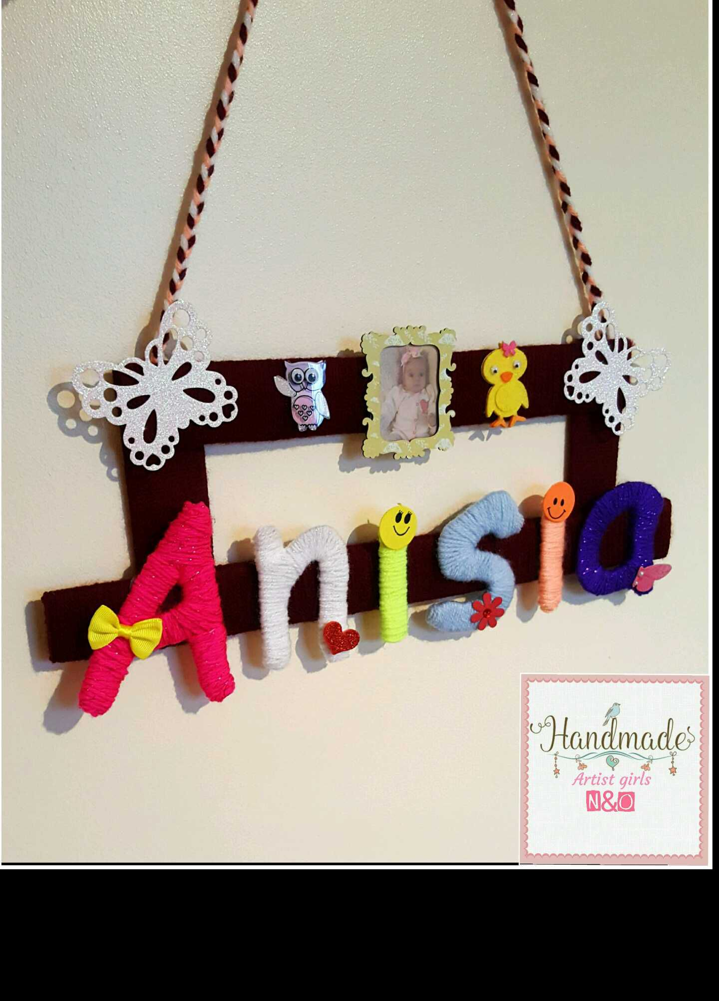 handmade gift yarn textile children kids decoration letters