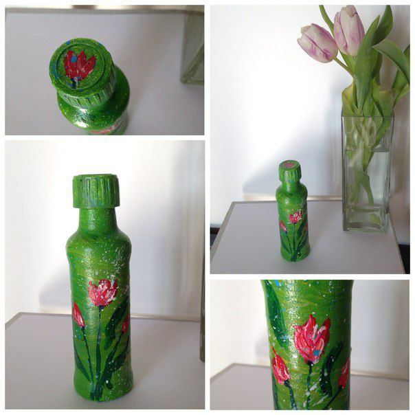 decor green interior acrylic flower bottle