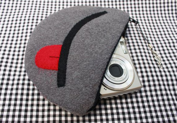 gift coin birthday smile gray purse japanese camera pouch kawaii mouth