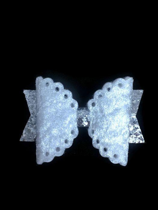 hair accessories glitter white sprarkle velvet silver
