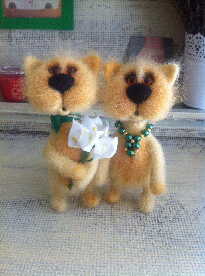 handmade gift cats bouquet couple